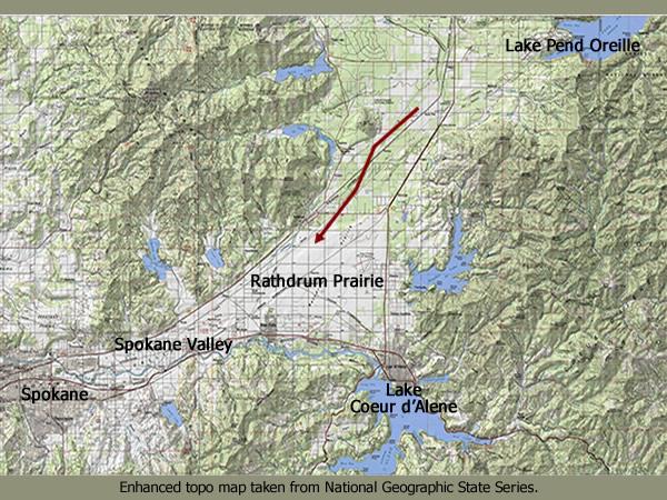 Spokane Elevation Map.Missoula Flood Gallery